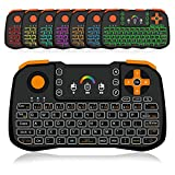 Backlit Mini Wireless Keyboard Built In Mouse, OKELA Mini Gaming Keyboard With Rocker Cap and A-X-B-Y Control Key, One Key to Turn ON/OFF The TV Box, Rechargeable 2.4GHz USB Keyboard With Touchapd Set