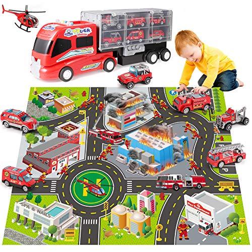 쿠알라룸푸르는 아이 불 캐리어 트럭을 수송차량 플레이트-소방 장난감 장비와 소리와 빛 다이 캐스트 엔진 물대포차 사다리차 화재 플레이 매트 선물 팩에 대한 시대 3 4 5 소년 여자