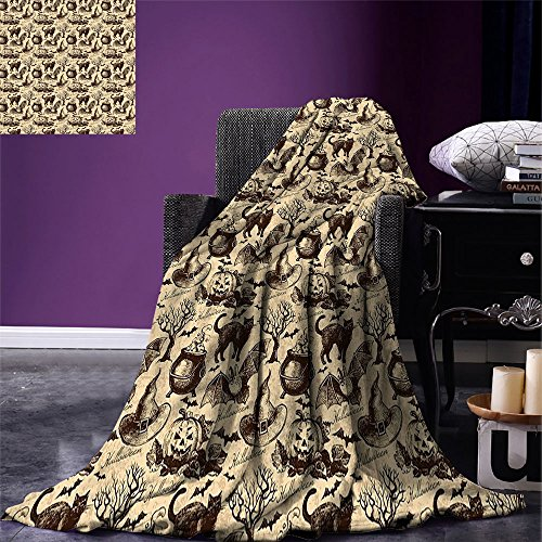 smallbeefly Vintage Halloween Throw Blanket Symbols of Halloween Witch Hat Cauldron Fall Jack o Lantern Black Cat Warm Microfiber All Season Blanket for Bed or Couch Light Brown