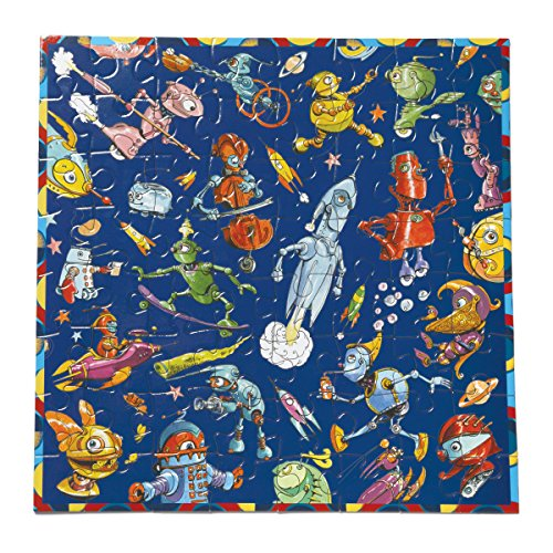 eeBoo Lots of Robots Puzzle for kids, 64 pieces