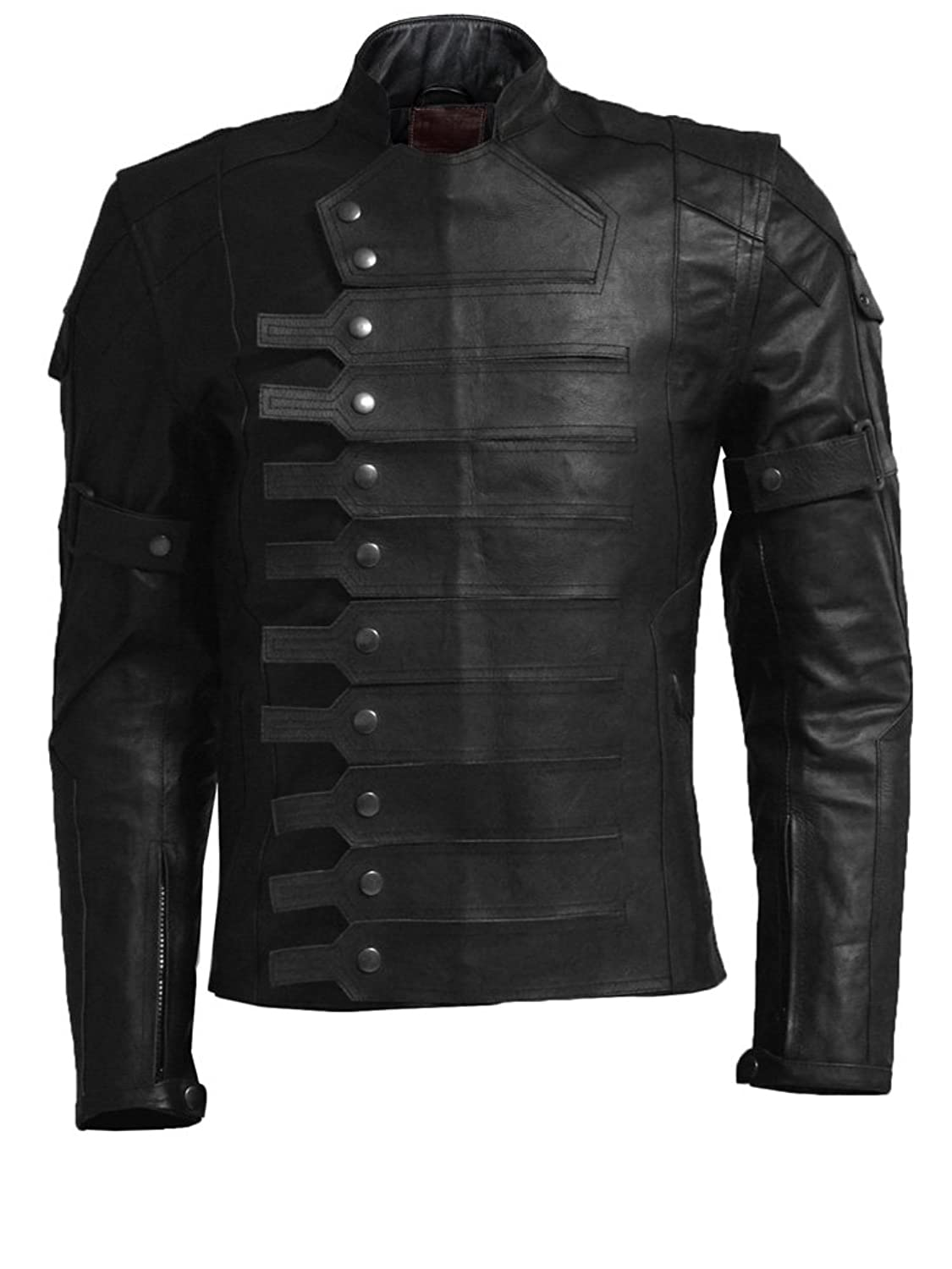Bucky Barnes: Winter Soldier Detachable Sleeve Black Real Leather Jacket - DeluxeAdultCostumes.com