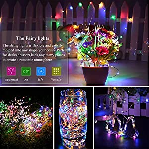 2 Pack LED Fairy Lights Battery Operated String Lights Waterproof 8 Modes 100 LED 33ft Fairy String Lights with Remote and Timer Firefly Lights Christmas Decor Bedroom Party Wedding Lights Multi Color