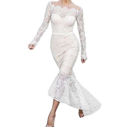 Vintage Donna Pizzo Vestito Lunge Elegante Abito - Juleya