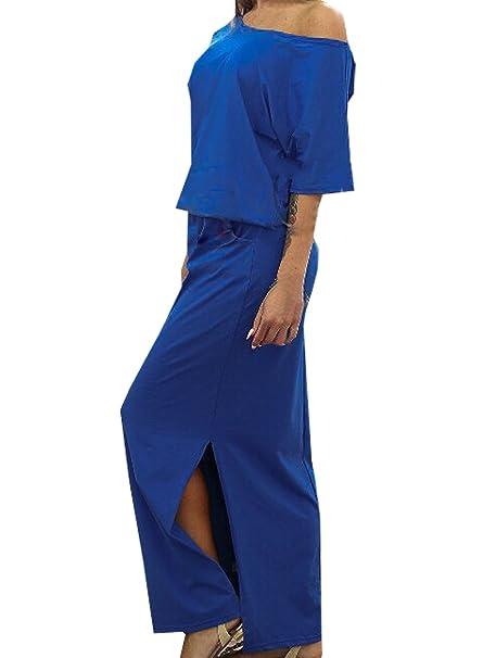 Lunghi Mare Vestiti Donna Moda Manica Corta Tunica Abito Sciolto Spacco  Abiti Partito Vestito Maxi Dress  Amazon.it  Abbigliamento a83617afbbe