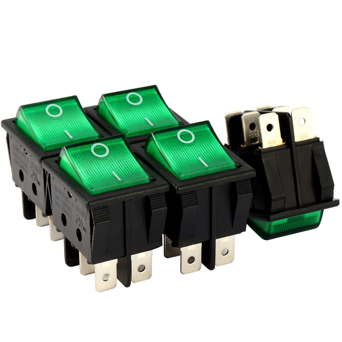 Aexit 5Pcs AC Winch Accessories 20A/125V 16A/250V DPDT 6P 2 Position Green LED Light Boat Rocker Switch Switches UL Listed