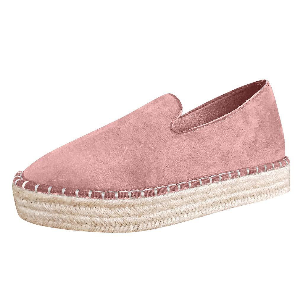 Shusuen Womens Casual Clip Espadrilles Trim Flatform Ankle Sandals Pink by Shusuen_shoes