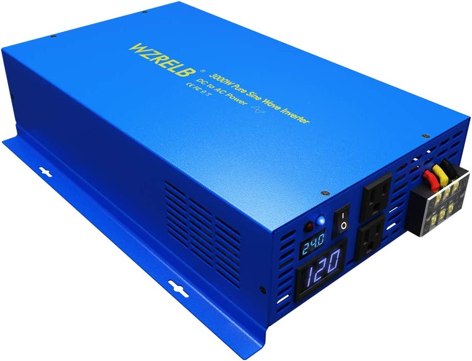 WZRELB 3000Watt Pure Sine Wave Car Power Inverter 24V DC to 120V AC with Dual AC Outlets for Off Grid System, Hardwire Terminal, Solar Inverter Converter