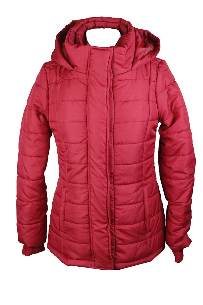 Rampage Red Hooded Quilted Puffer Coat S by Rampage