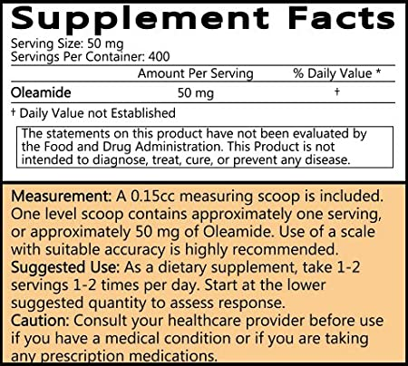 Oleamide Powder - 20 Grams (100 Servings at 200 mg) | #1 Value for Money  #Top Supplement | Calming