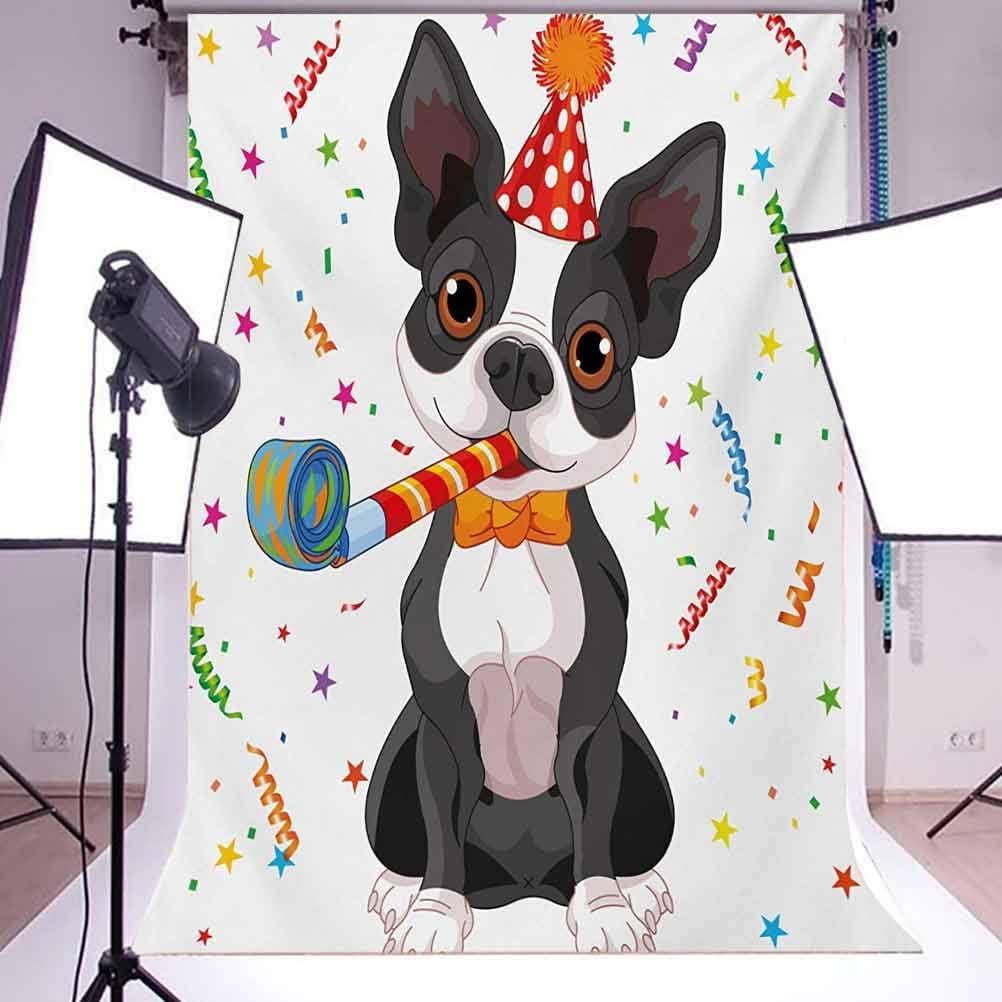 8x10 FT Backdrop Photographers,Black White Boston Terrier Dog with Colorful Party Celebration Backdrop Background for Kid Baby Boy Girl Artistic Portrait Photo Shoot Studio Props Video Drape Vinyl