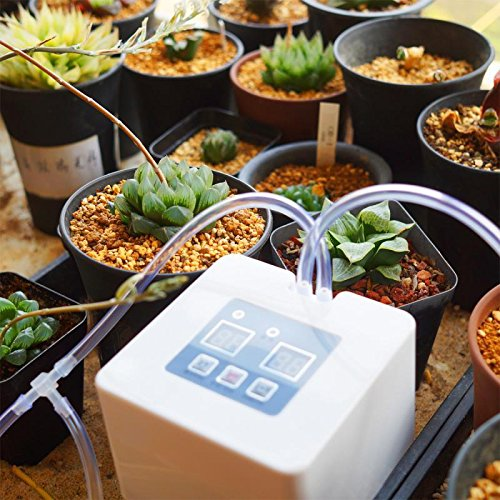 Automatic Drip Irrigation Kit Self Watering System with 30-Day Timer and USB Charging,Suitable for 10 Indoor Pot Plants ()