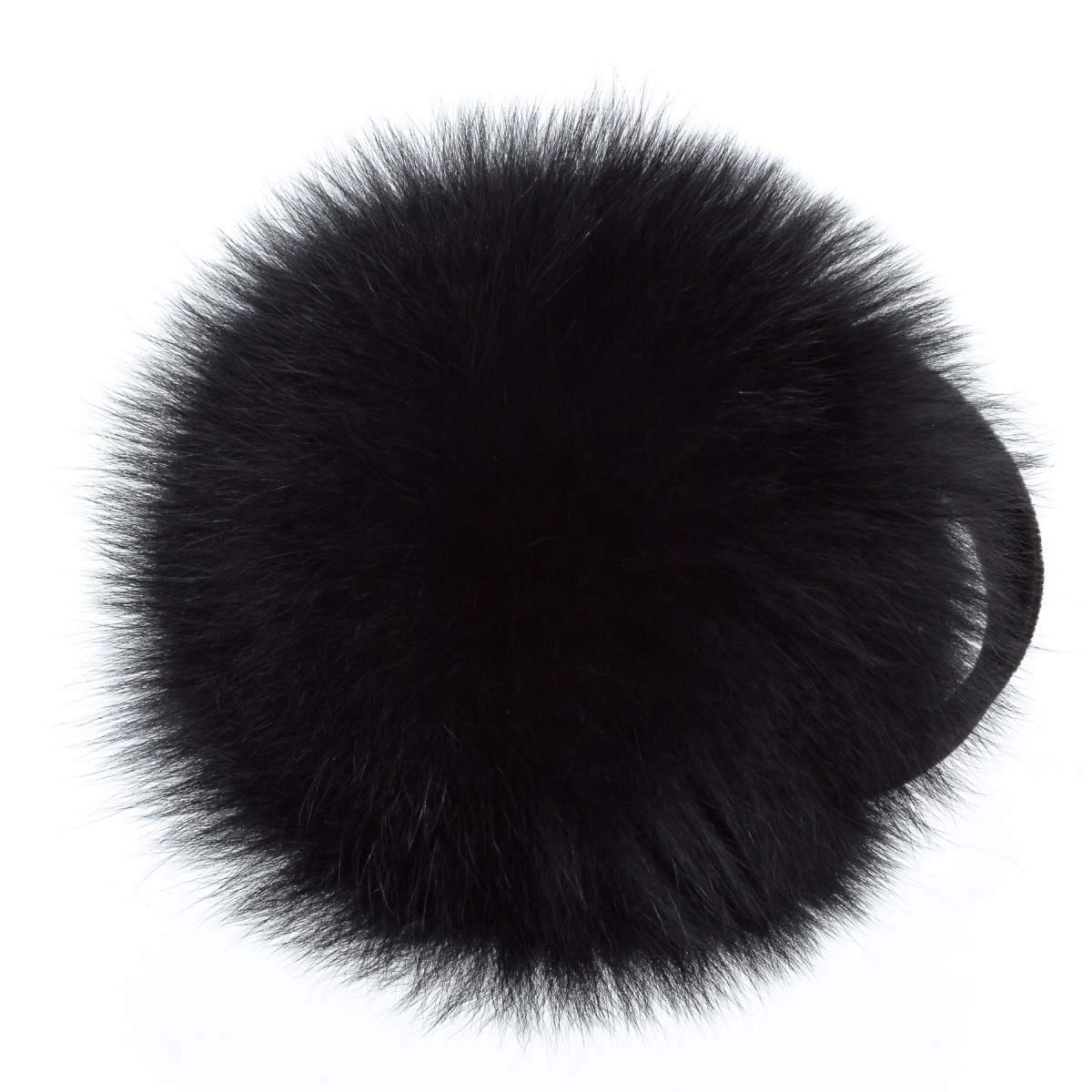 Surell Fox Fur Earmuff with Velvet Band - Winter Ear Muffs - Cold Weather Head Warmer (Black) by surell