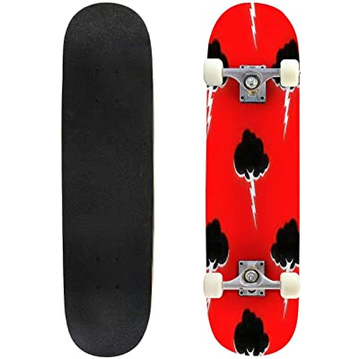 Classic Concave Skateboard Cloud and Lightning Pattern Seamless Thunderstorm Background Weather Longboard Maple Deck Extreme Sports and Outdoors Double Kick Trick for Beginners and Professionals : Sports & Outdoors