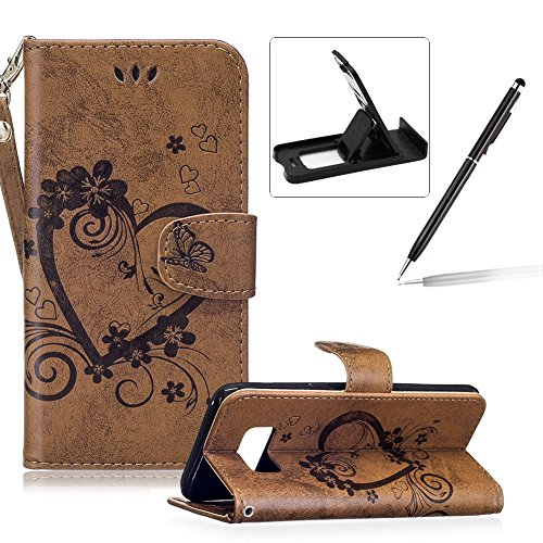 PU Leather Case For Samsung Galaxy S8,Strap Magnetic Wallet Folio Cover for Samsung Galaxy S8,Herzzer Elegant Slim Brown [Love Hearts Flower Embossed] Stand Phone Case
