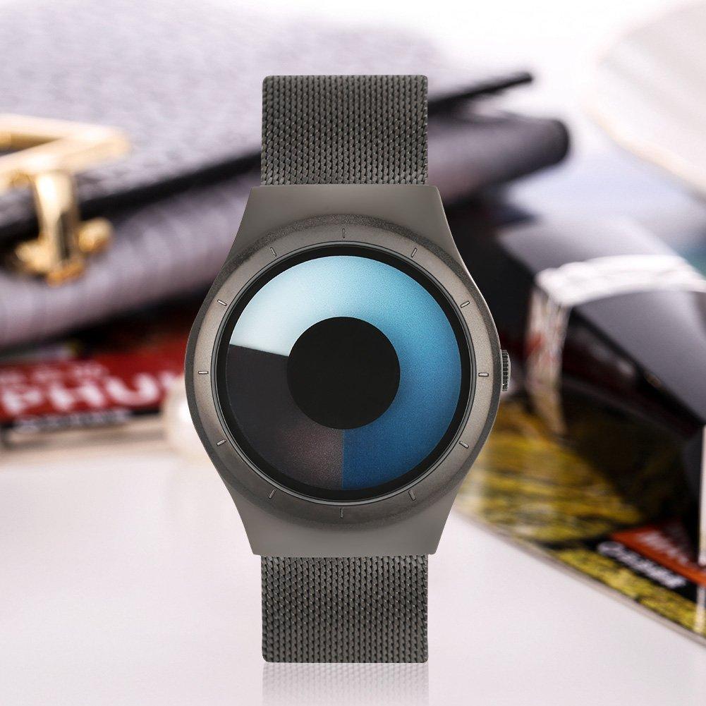 Reloj de Pulsera 5 Tipos Relojes de Cuarzo con Caja Redonda de Acero Inoxidable con Correa de Acero(Negro Azul): Amazon.es: Belleza