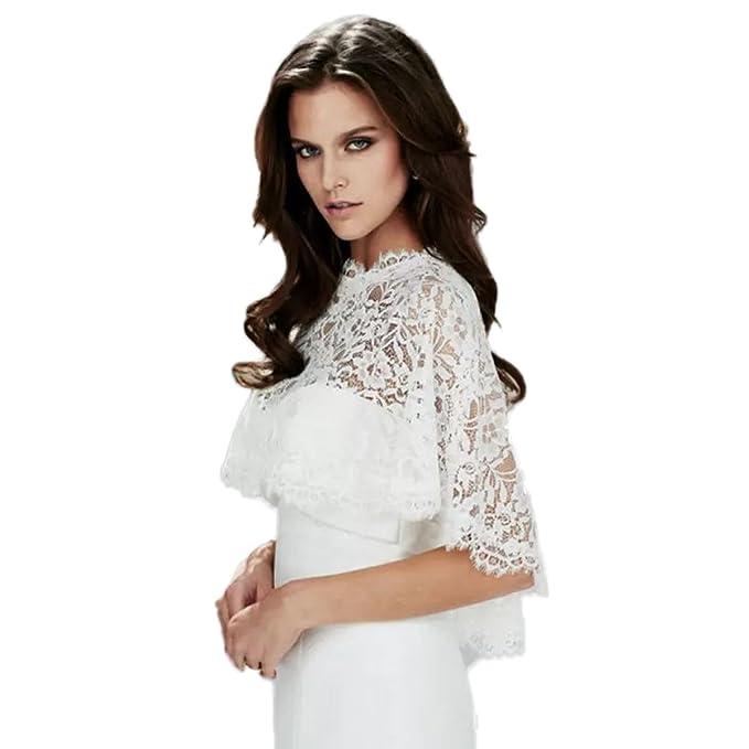 Automan Modest Lace Wedding Jacket Bridal Wraps Shrug for Evening ...