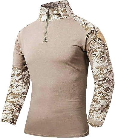 Camisa Táctica del Ajuste Los De Hombres Largas Camisas Delgado Ropa Festiva del Combate del Camuflaje De Airsoft Camisa Delgada del Deporte Al Aire Libre del Deporte Tops De Las Tapas: Amazon.es: