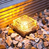 TechCode LED Solar Glass Light, Solar LED Crystal Ice Brick Solar Lights Waterproof Solar Garden Lamps Decorative Security Lighting for Patio Yard Walkway Christmas Festivals Decoration(Warm White)