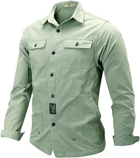 Wodechenshan Camisas Casual para Hombre,La Moda Hombre De Harajuku Camisa Verde Militar Moda Casual Color Puro Streetwear Pocket Camisa Manga Larga Blusa Top: Amazon.es: Deportes y aire libre