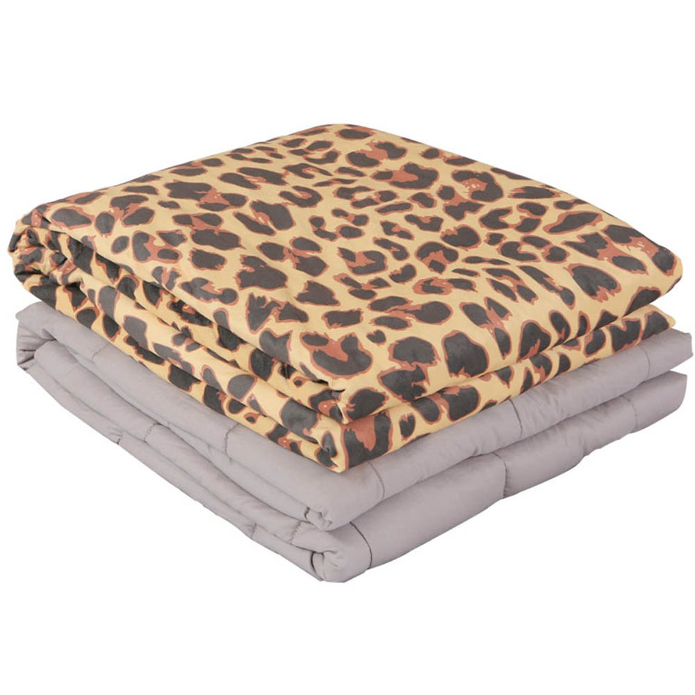 Weighted Blanket with Printed Removable Minky Cover by Weighted Idea for Adults, Great for Autism, Insomnia, Anxiety - Leopard (60''x80'', 25 lbs)
