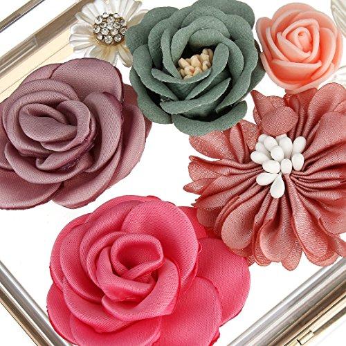 Womens Clutch Handbag Bag Evening Acrylic Wedding Transparent Clutches Flower Clear FEfdwgxqHw