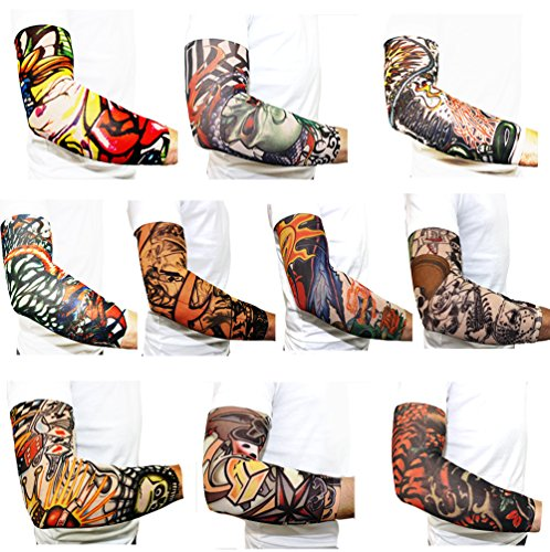 10pc temporary body art tattoo sleeves buy online in uae for Fake tattoos amazon