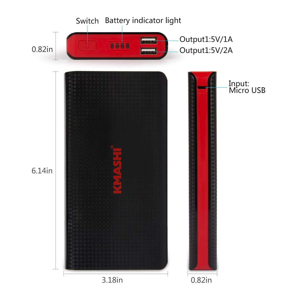 KMASHI 15000mAh External Battery Power Bank, Portable Charger with Powerful Dual USB Output and 2A Input by KMASHI (Image #2)