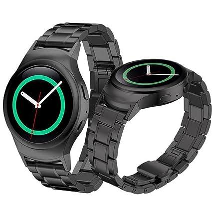 Samsung Galaxy Gear S2 SM-R720 correas y conector de banda para reloj - Sannysis correas para relojes, Acero inoxidable de Banda, color negro