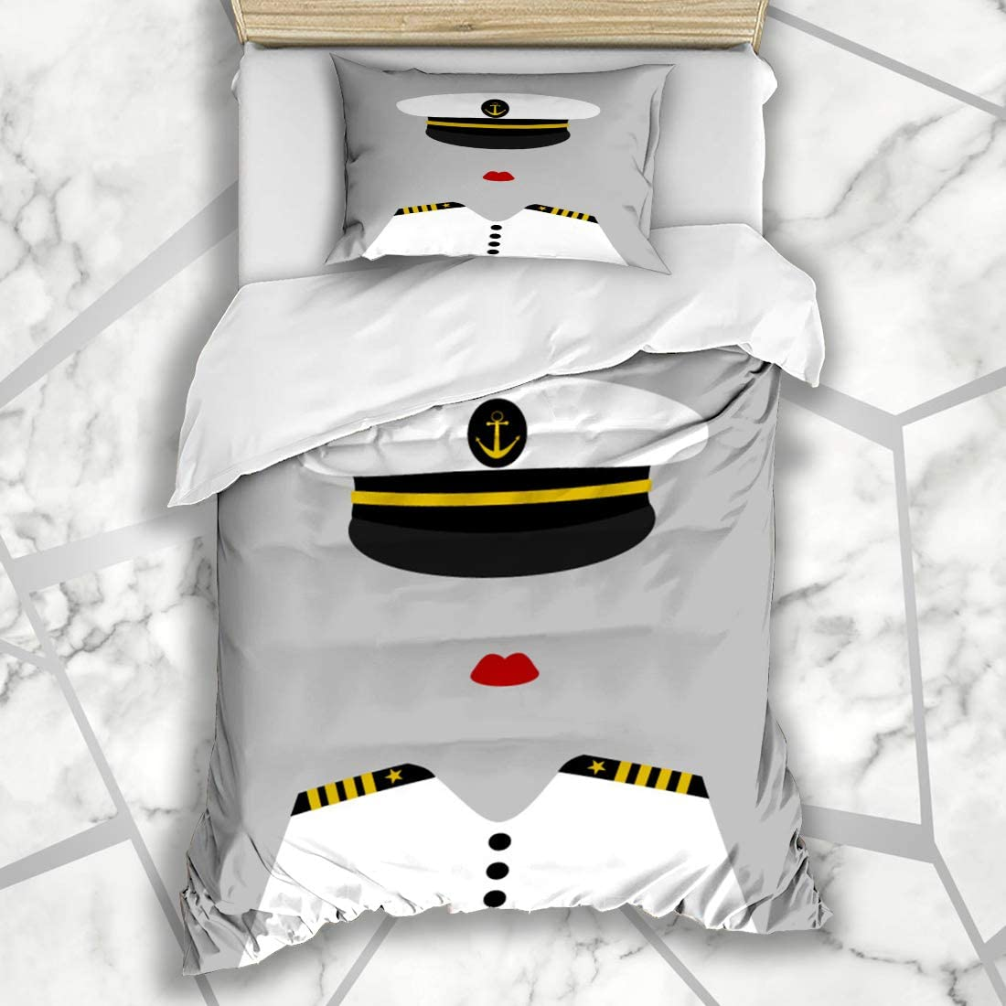 FUEWU Bedding Duvet Cover Sets Twin 68x86 Inches Navy Hat Funny Success Female Sailor Ocean Captain Yellow Uniform Admiral Girl Woman Anchor Black Soft Microfiber Bedroom with 1 Pillow Shams