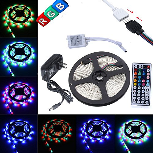 INIEIWO 16.4ft 5M Waterproof Flexible Strip 300leds Color Changing RGB SMD3528 LED Light Strip Kit RGB 5M +44Key