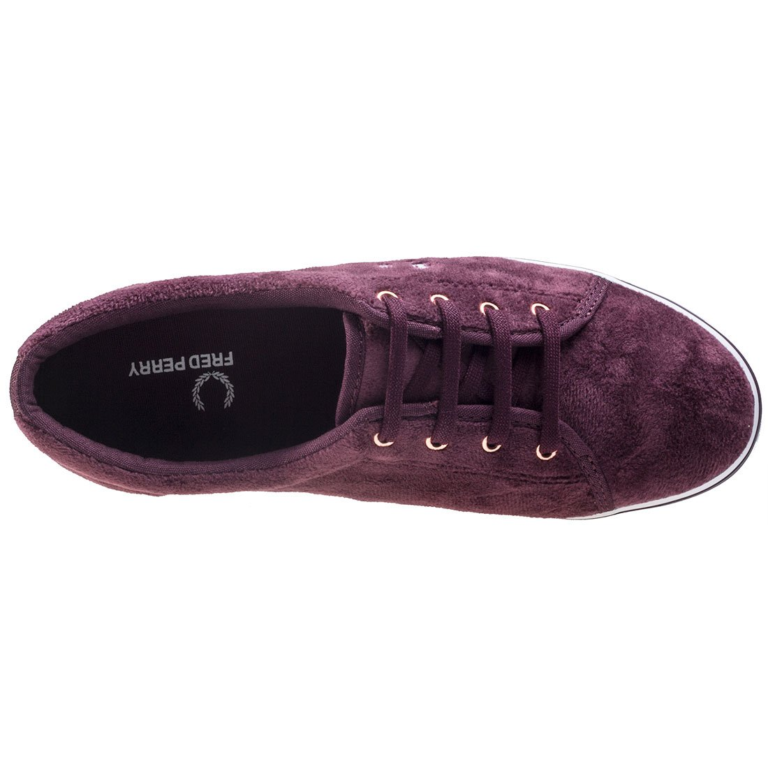New Womens Fred Perry Maroon Aubyn Velour Textile Trainers Plimsolls Slip On