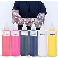 5 kleuren professionele tattoo inkt, 24ml tattoo inkt make-up voor lijnen en schaduw tatoeages, body art inkt(zwart)