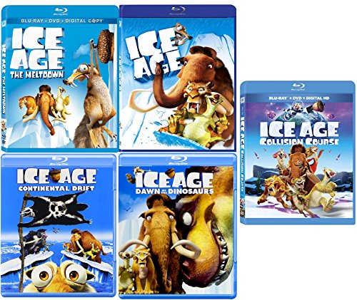 Ice Age Collection 5 Movie Collection Blu Ray Collision Course / The Meltdown / Continental Drift & Dawn of The Dinosaurs Cartoon Set