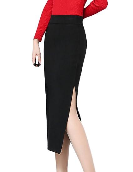 fddbd4c935 Johe Women s High Waisted Stretch Wool Skirt Slit Side Pencil Skirt at  Amazon Women s Clothing store