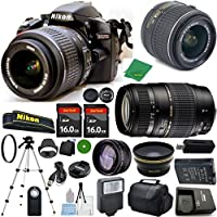 Nikon D3200 24.2 MP CMOS Digital SLR, NIKKOR 18-55mm f/3.5-5.6 Auto Focus-S DX VR, Tamron 70-300mm DI LD Zoom, 2pcs 16GB ZeeTech Memory, Case, Wide Angle, Telephoto, Flash