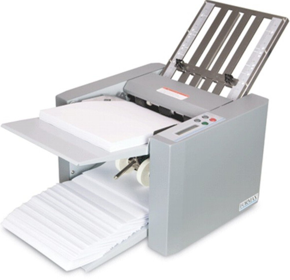 FORMAX FD 314 Desktop Office Folder, Up to 250 sheets 20# (75gsm) Hopper Capacity, Up to 7700 sheets per hour, LCD control panel with 3-digit resettable counter, Output conveyor for neat and sequential stacking