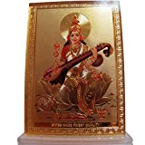 Saraswati Goddess of Knowledge Desk Dashboard Gold Acrylic Frame Art Hindu Altar Yoga Meditation Accessory Gift