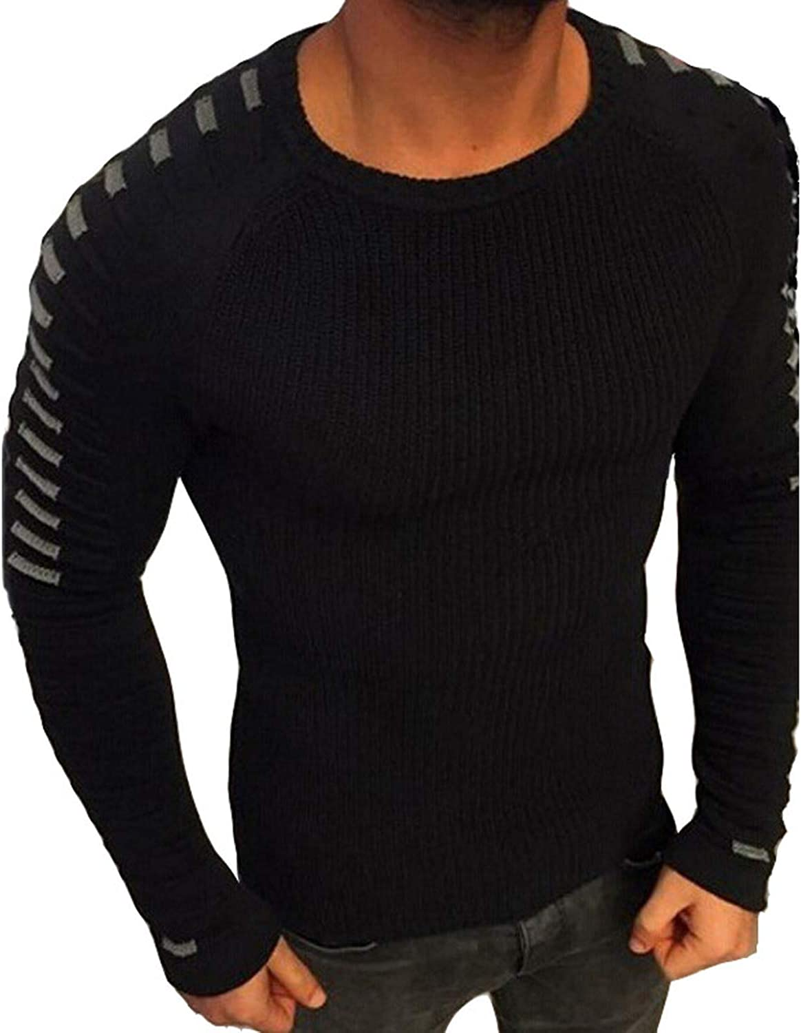 2019 Casual Pullover Men Long Sleeve O Neck Patchwork Knitted Solid Men Sweaters,Color 5,Asian Size 3XL,China