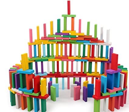 Newcreativetop 120pcs Wooden Dominos Blocks Set, Kids Game Educational Play  Toy, Domino Racing Toy Game (120PCS)