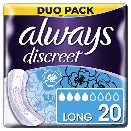 20 unidades Always Discreet Toallas sanitarias largas para p/érdida e incontinencia urinaria