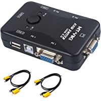 KVM VGA Switch, USB 2.0 KVM Switcher Box Adapter, For PC Monitor Keyboard Mouse, with 2 VGA Cables- 2 Ports