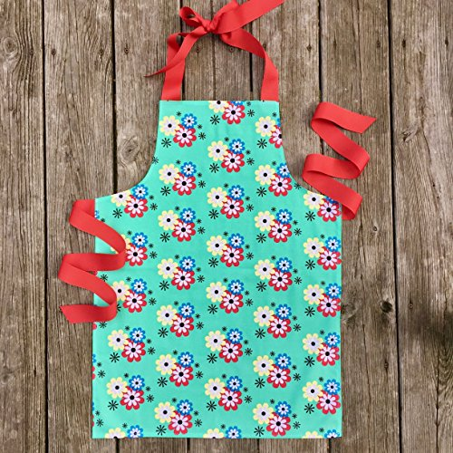 Colorful Green Floral Craft Art or Kitchen Apron Gift for Tween Girls from Sara Sews