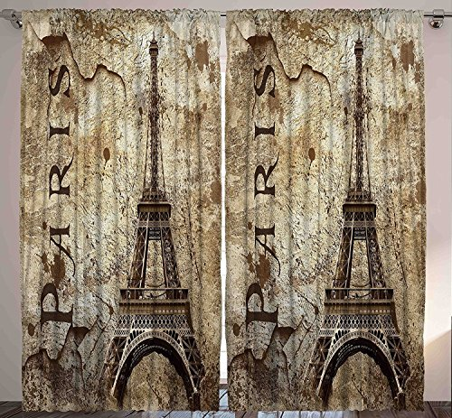 "Ambesonne Eiffel Tower Curtains, Timeworn Grungy Wall Image with Paris Lettering and Famous Landmark, Living Room Bedroom Window Drapes 2 Panel Set, 108"" X 63"", Beige Brown"
