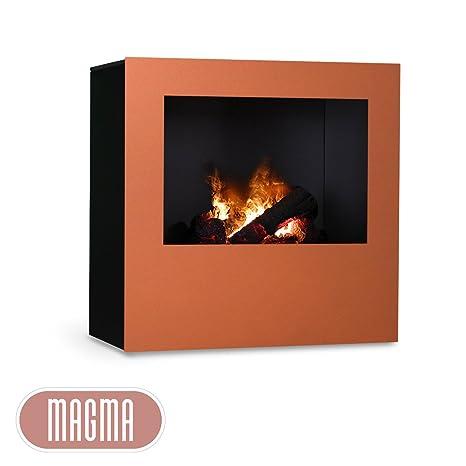 Magma infrarrojos Chimenea (Cobre/Negro), Radiador Eléctrico Chimenea Horno con optimyst Llama