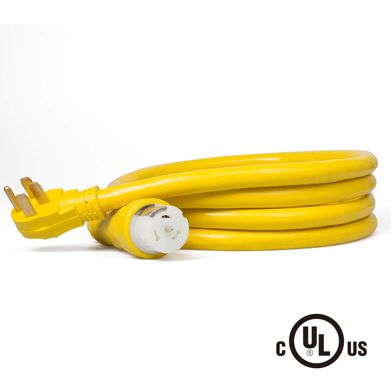 ROCKPALS 15-Foot Generator Power Cord, NEMA 14-50P Generator Plug to CS-6364 Locking Connector, 50-Amp 125/250-Volt