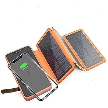 MYYING ELE Qi Cargador Solar inalámbrico Banco de energía ...