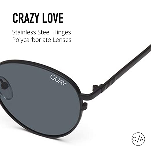 2e7622df8ec Amazon.com  Quay Australia CRAZY LOVE Women s Sunglasses Classic Round -  Black Smoke  Clothing