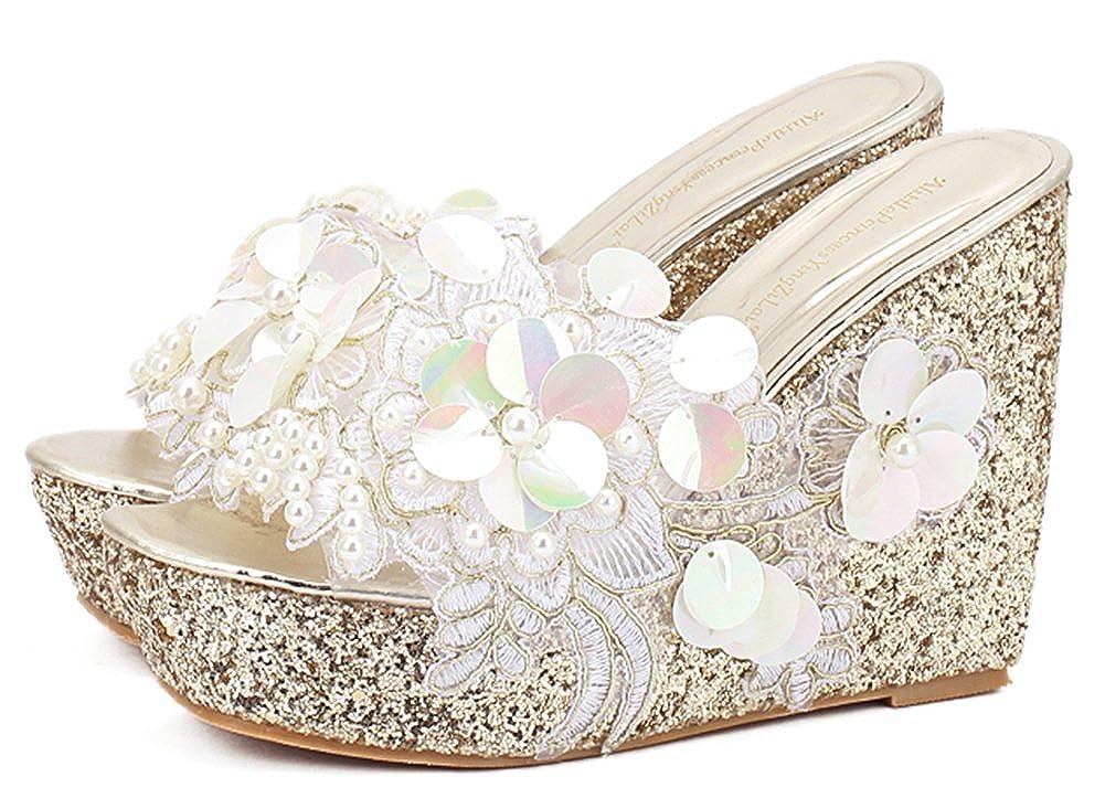 US IDIFU Womens Comfy Flowers High Heels Wedge Platform Summer Slippers Sandals M Gold, 5 B