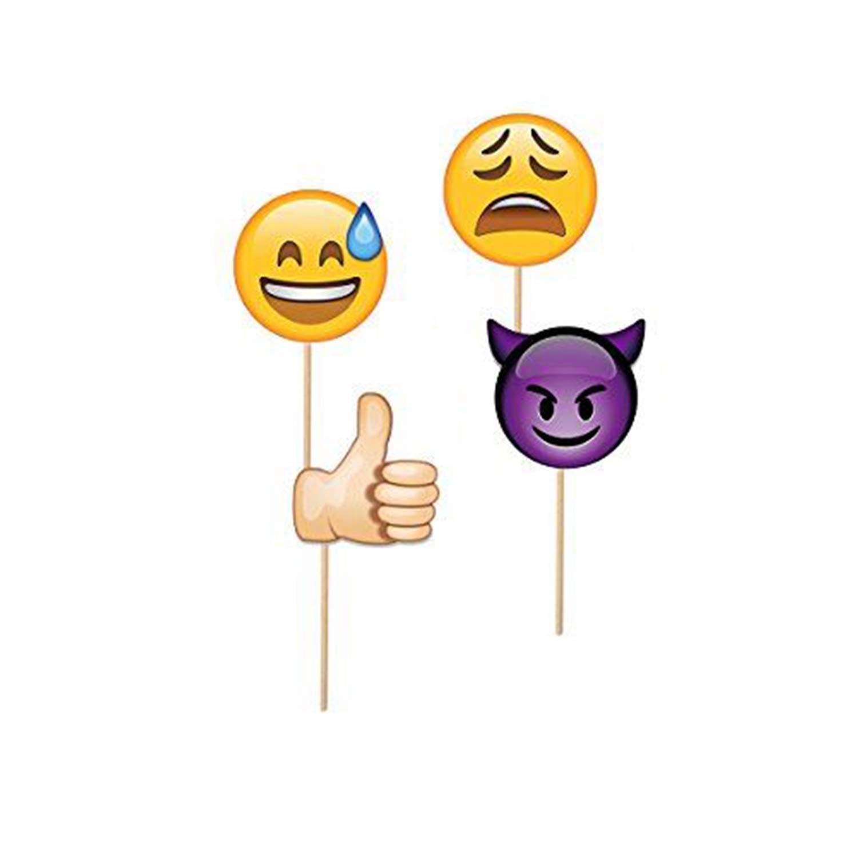Trimming Shop Emoji Reacci/ón Selfie Photo Booth Funny Mask Props Varios dise/ños para A/ño Nuevo cumplea/ños Evento 9 Piezas Fiesta Favor fotograf/ía Decoraciones