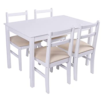 Giantex 5 Pcs Pine Wood Dining Set Table And 4 Upholstered Chair Breakfast  Furniture (White